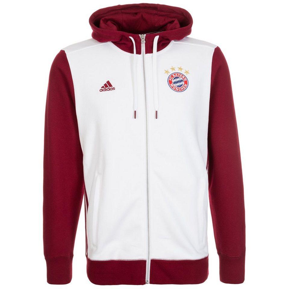 adidas Performance FC Bayern München 3S Kapuzenjacke Herren in weiß / dunkelrot