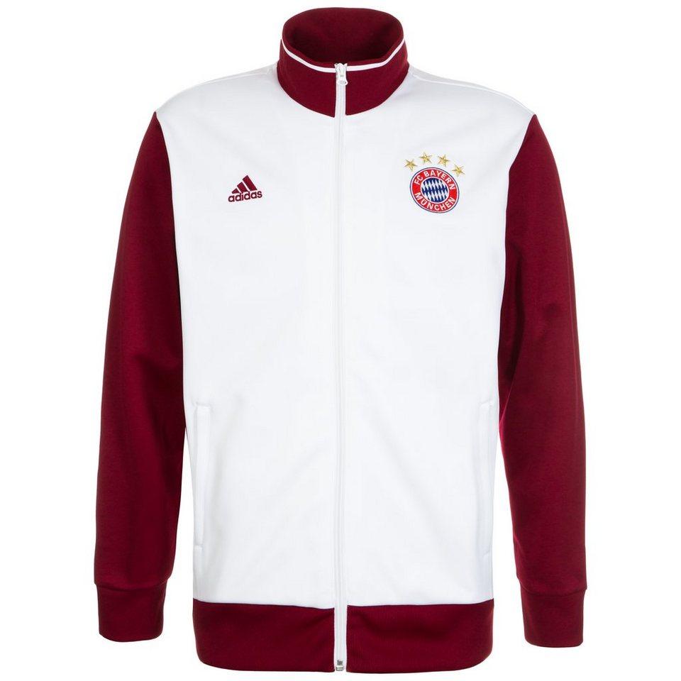 adidas Performance FC Bayern München 3S Trainingsjacke Herren in weiß / dunkelrot