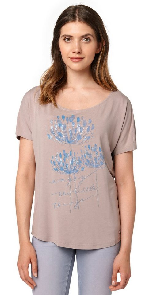 TOM TAILOR T-Shirt »T-Shirt mit Glitzer-Detail« in smokey greige