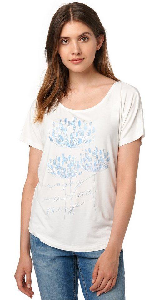 TOM TAILOR T-Shirt »T-Shirt mit Glitzer-Detail« in whisper white