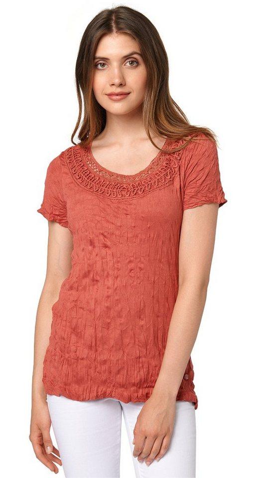 TOM TAILOR T-Shirt »feminines T-Shirt mit Crinkles« in terracotta red