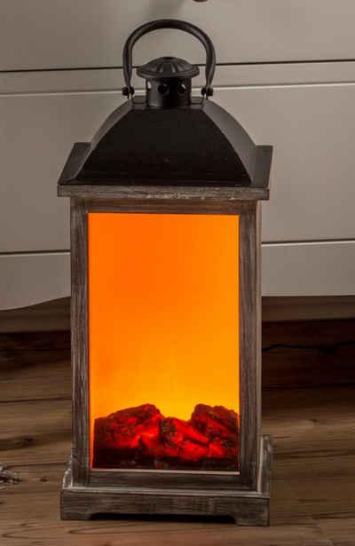 HGD Holz-Glas-Design LED Laterne »Holz-Laterne mit Kamineffekt und Trafo für Netzbetrieb inklusive«, Maße ca. 20 x 20 x 43,5 cm