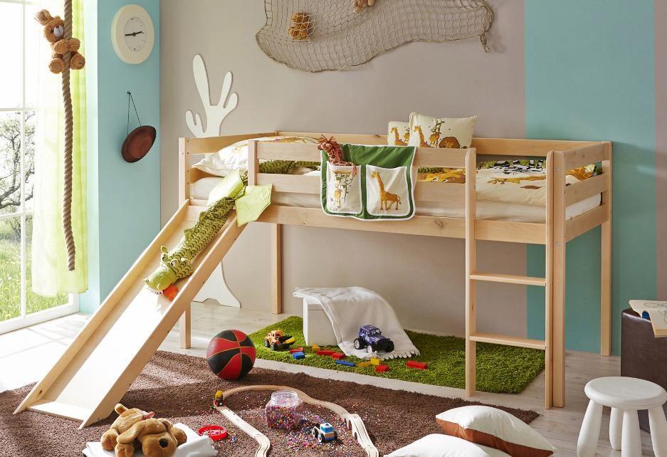 Etagenbett Kinder Spielbett : Kindermöbel hochbett spielbett mit rutsche und leiter kirsche