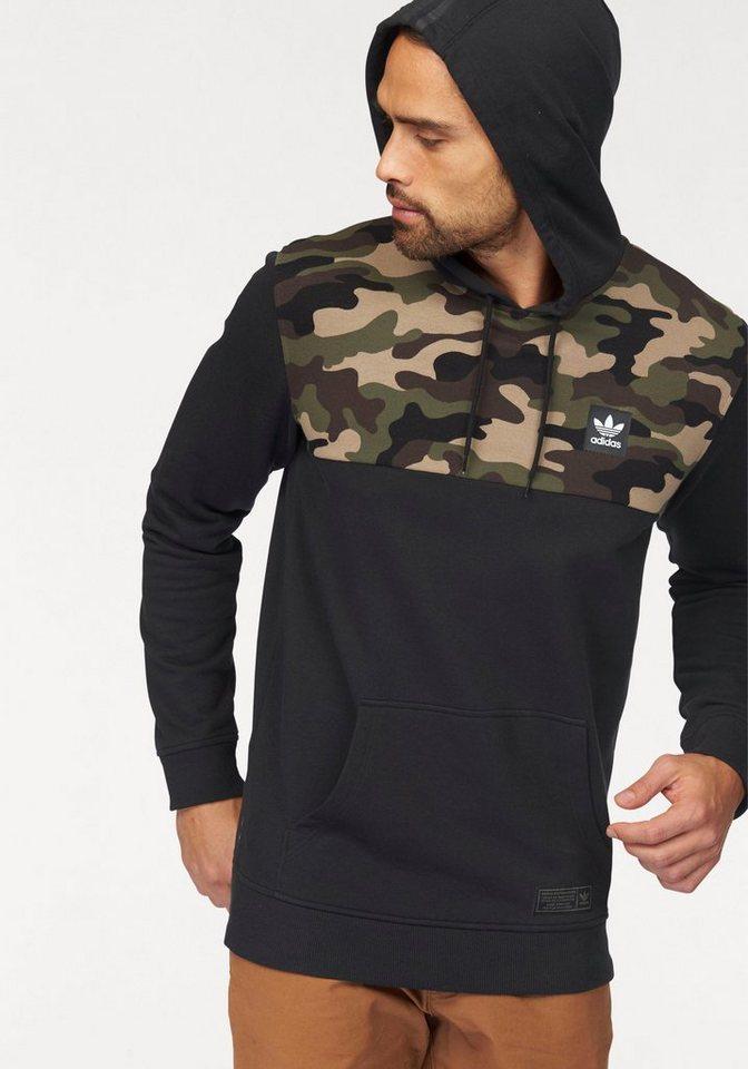 adidas Originals Hoodie mit Camouflageeinsatz in schwarz-tarnfarben