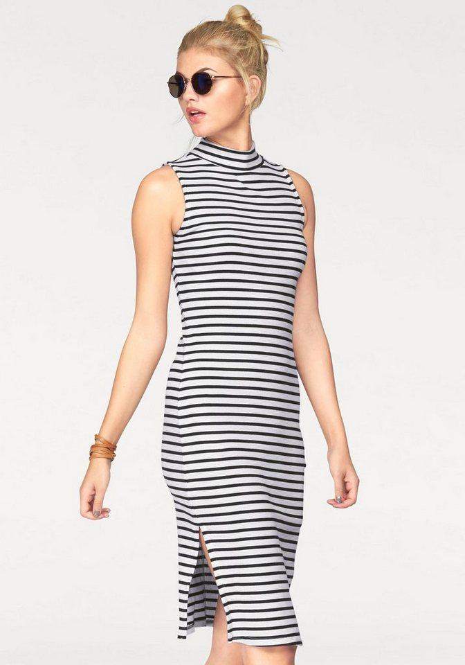 AJC Jerseykleid mit Stehkragen gestreift und unifarben in schwarz-weiß