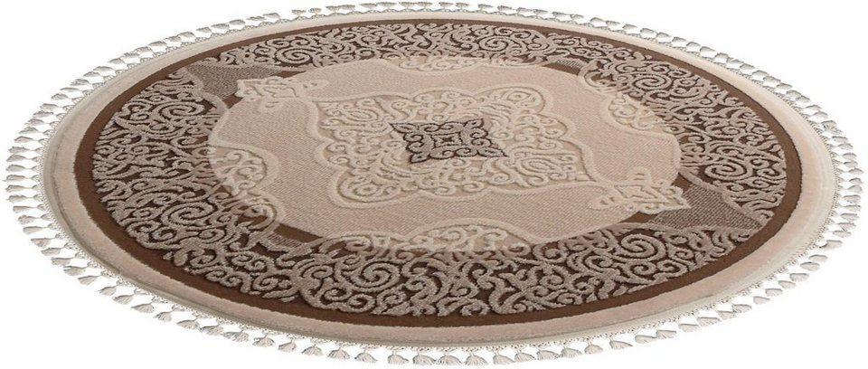 Orient-Teppich, rund, Sanat Hali, »Delüks 6826«, gewebt in beige