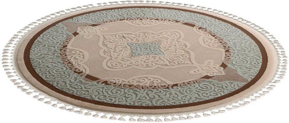 Orient-Teppich, rund, Sanat Hali, »Delüks 6827«, gewebt in türkis