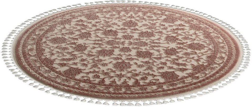 Orient-Teppich, rund, Sanat Hali, »Delüks 6896«, gewebt in braun
