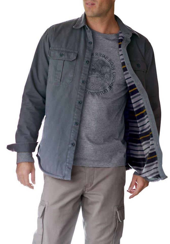 Eddie Bauer Hemdjacke mit Fleece gefüttert in Grau