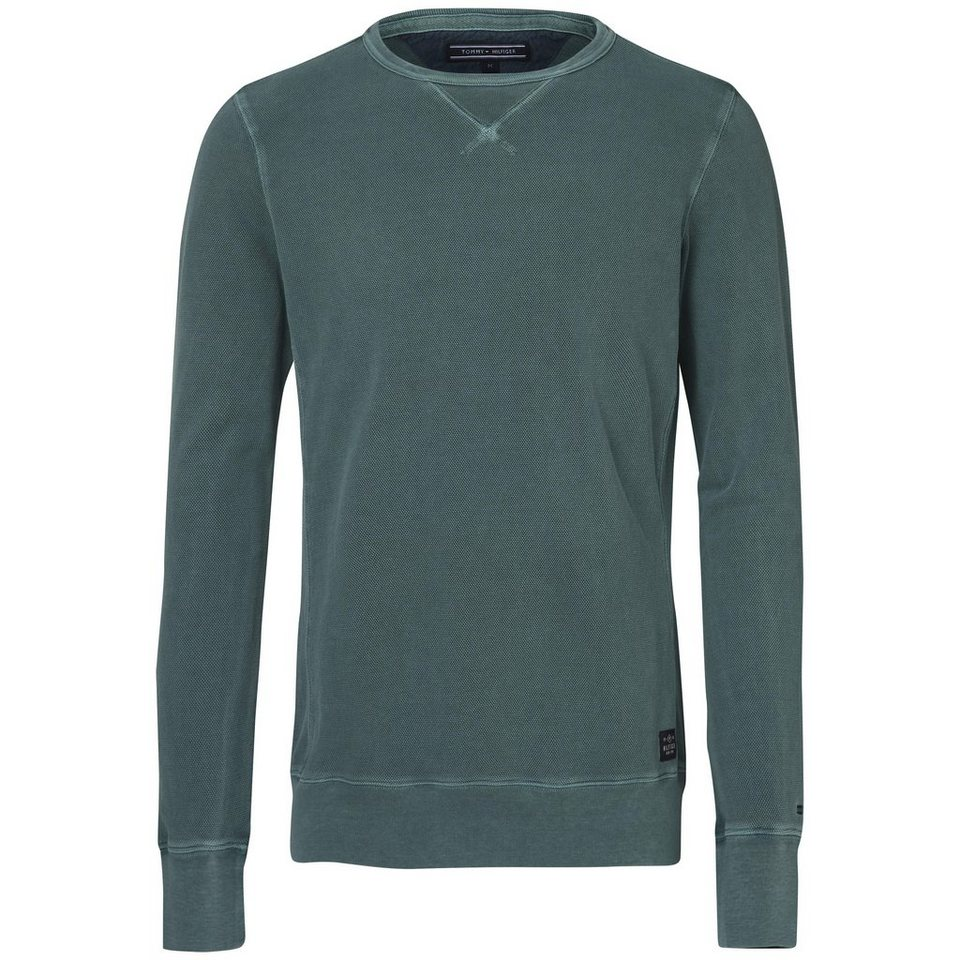 Tommy Hilfiger Pullover »PIQUE GMD C-NK L/S VF« in ARCTIC