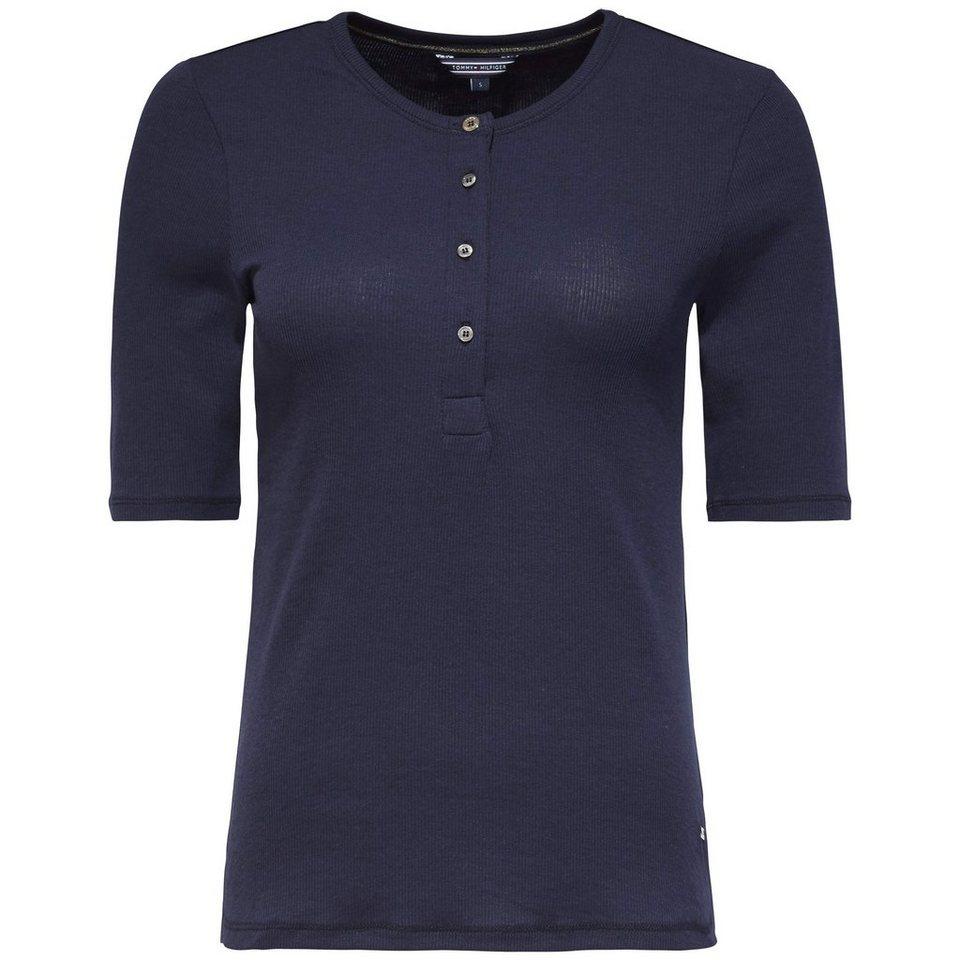 Tommy Hilfiger T-Shirts (mit Arm) »FINLEY RIB HENLEY 1/2 SLV« in Navy