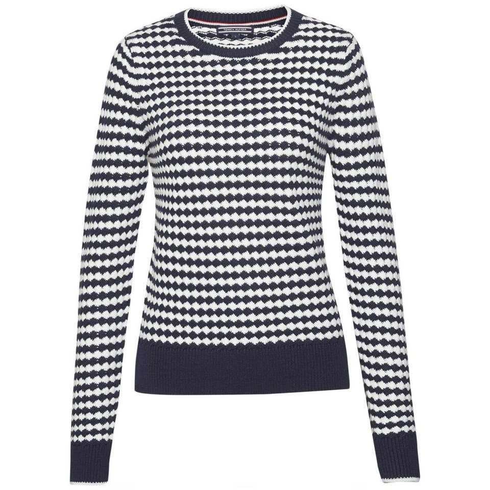 Tommy Hilfiger Pullover »ARUNA STP C-NK SWTR« in Navy / SNOW WHITE