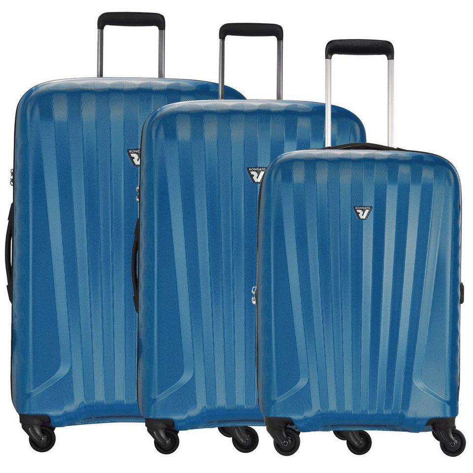Roncato UNO ZIP 4-Rollen Trolleyset 3tlg. in nero azzurro