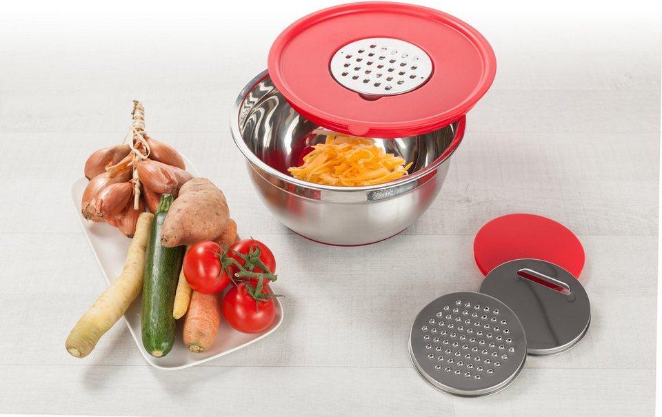 Genius® Multifunktionsschüssel, 6-teilig, »Superbowl« in edelstahlfarben/rot