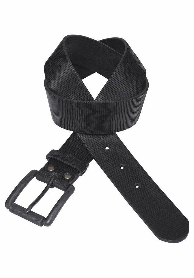 J. Jayz Ledergürtel in Streifen-Optik angeritzt in schwarz
