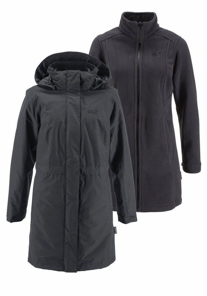 Jack Wolfskin Wintermantel »OTTAWA COAT« - inklusive Fleecemantel in schwarz+schwarz
