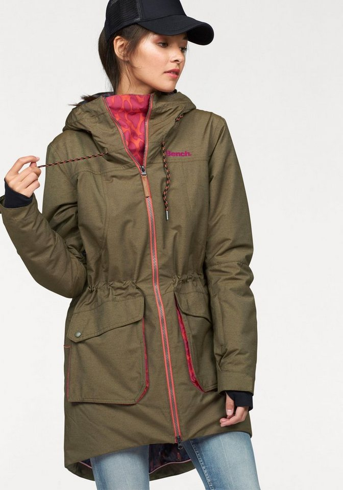 Bench Parka in khaki-meliert