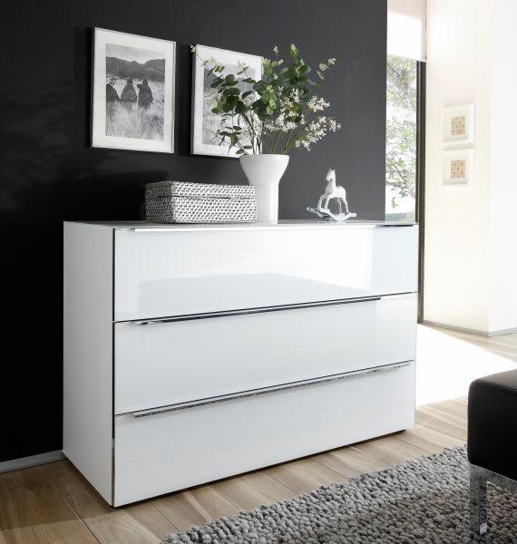 nolte® Möbel Kommode »Alegro Style«, Breite 160 cm Glasfronten in polarweiß/weißglas