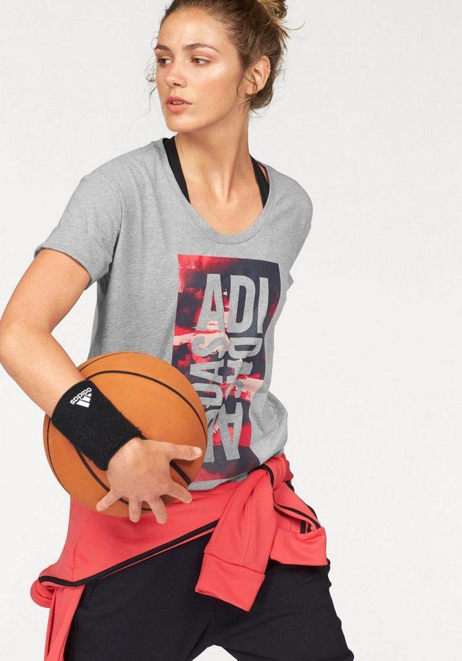 adidas Performance T-Shirt »LINEAGE TEE« in grau-meliert