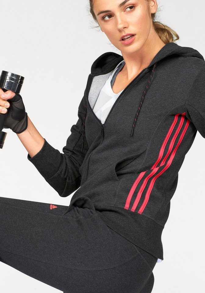 adidas Performance Kapuzensweatjacke »ESSENTIALS MID 3S HOODIE« in schwarz-meliert-koralle