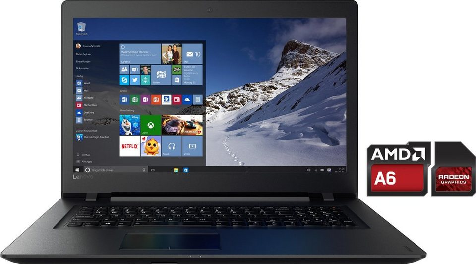 Lenovo Ideapad 110-17ACL Notebook, AMD Quad-Core, 43,9 cm (17,3 Zoll), 500 GB Speicher in schwarz
