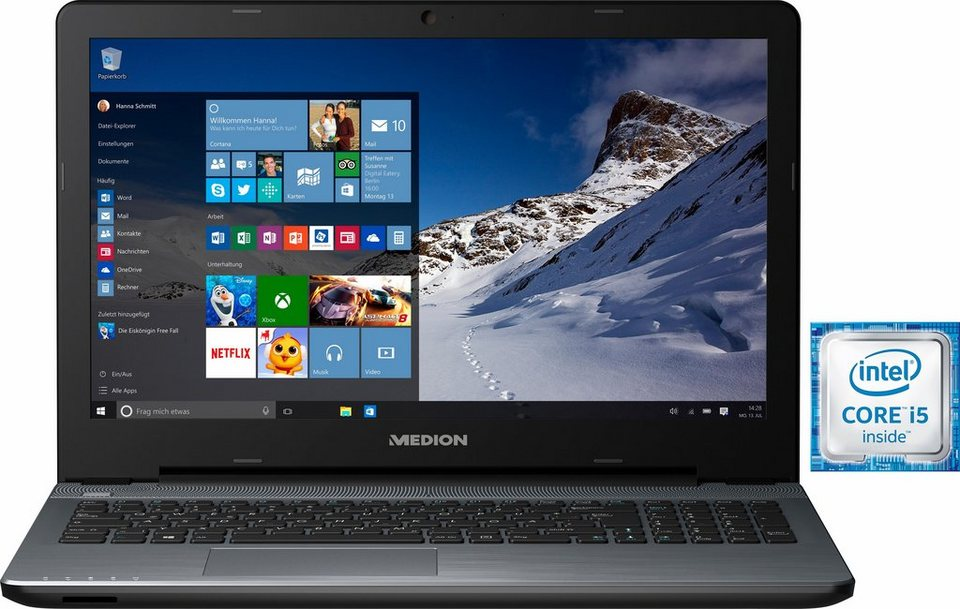 Medion® P6667 Notebook, Intel® Core™ i5, 39,6 cm (15,6 Zoll), 16384 MB DDR3L in silberfarben