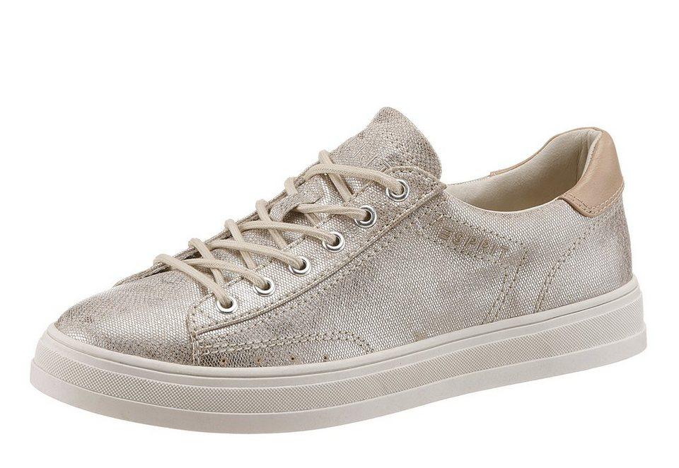 Esprit »Sidney Lace Up« Sneaker im schimmernden Look in taupe