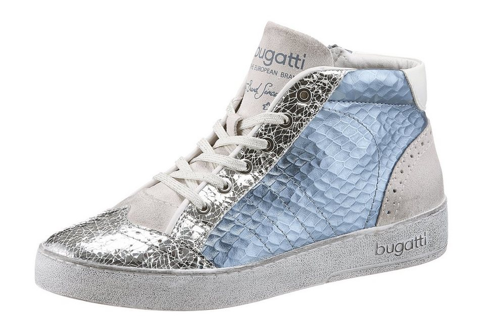Bugatti Sneaker im Antik-Look in hellblau-silberfarben-hellgrau
