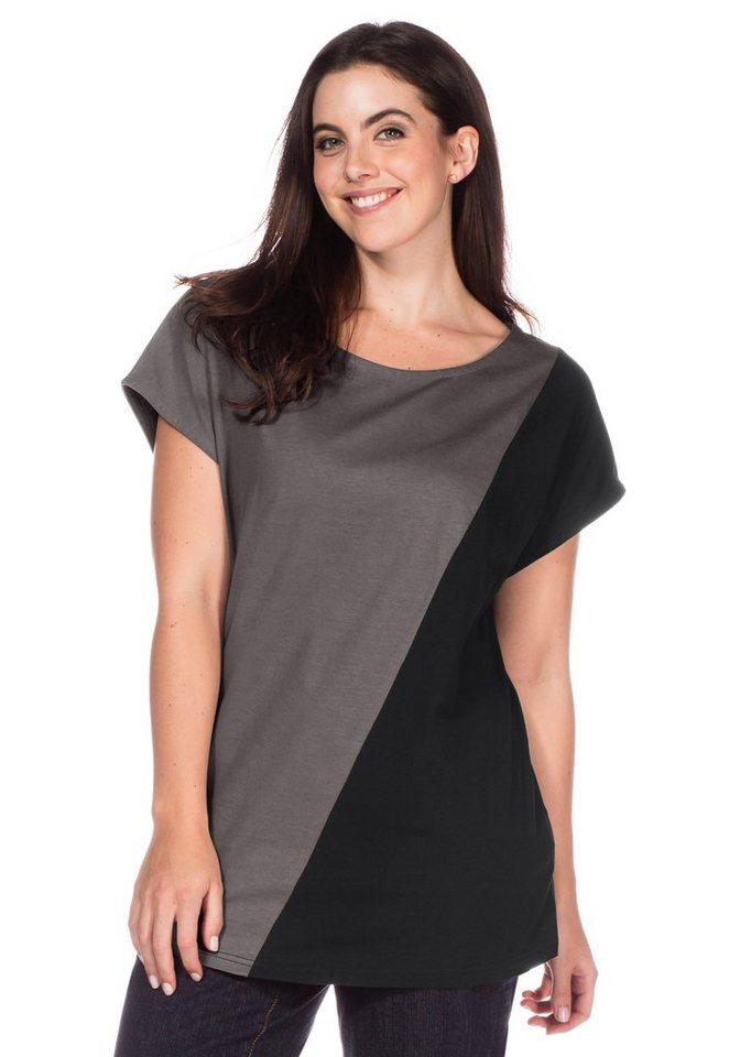 sheego Casual Shirt in grau-schwarz