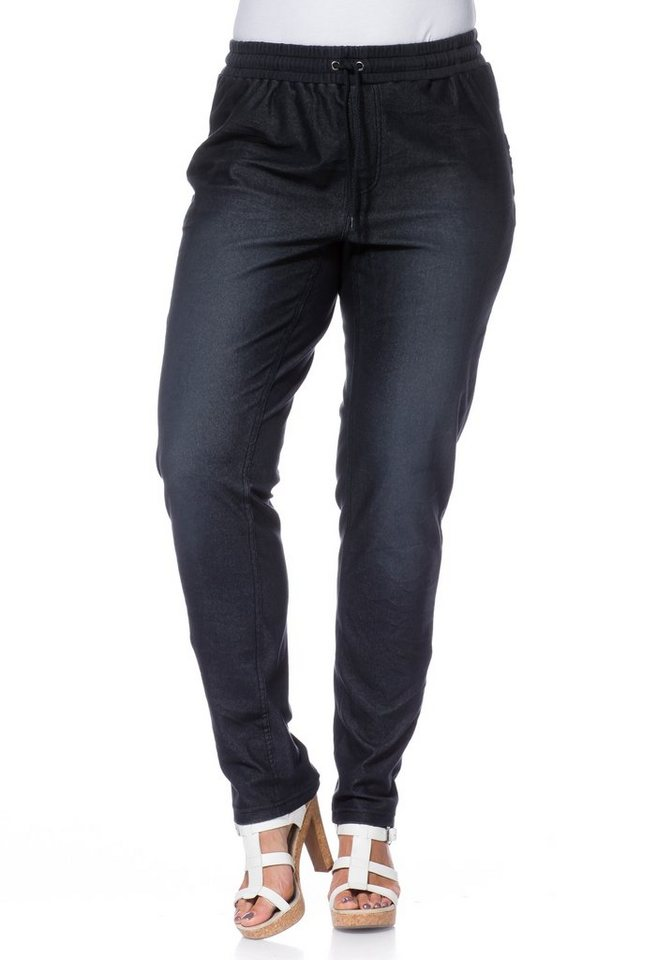 sheego Trend Schmale Stretch-Sweathose in dark blue