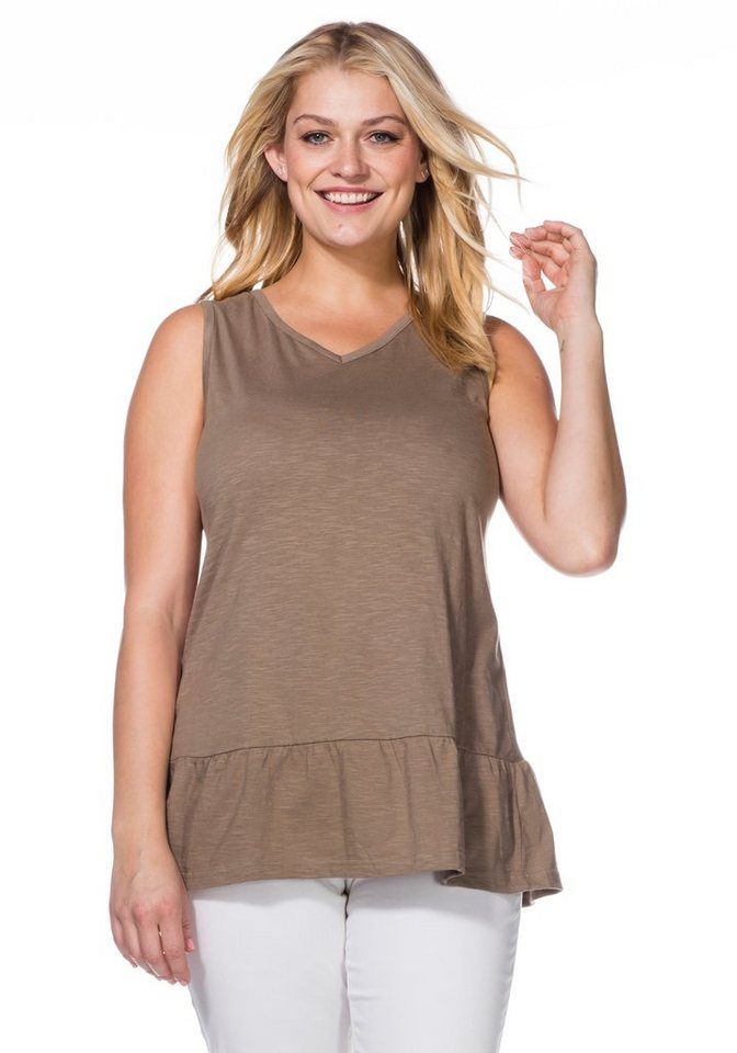 sheego Casual Longtop mit Volant in taupe