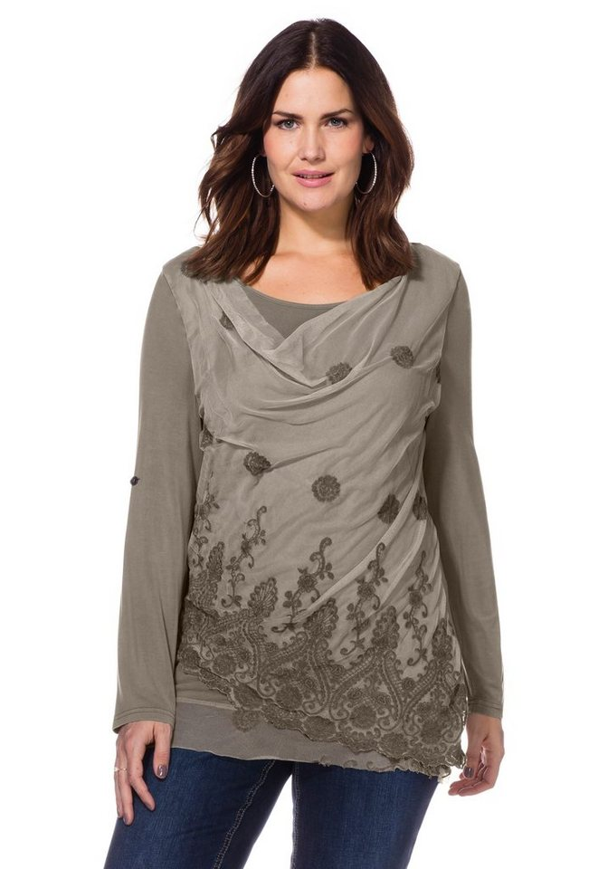 sheego Style Spitzenshirt in Oil-washed-Optik in taupe