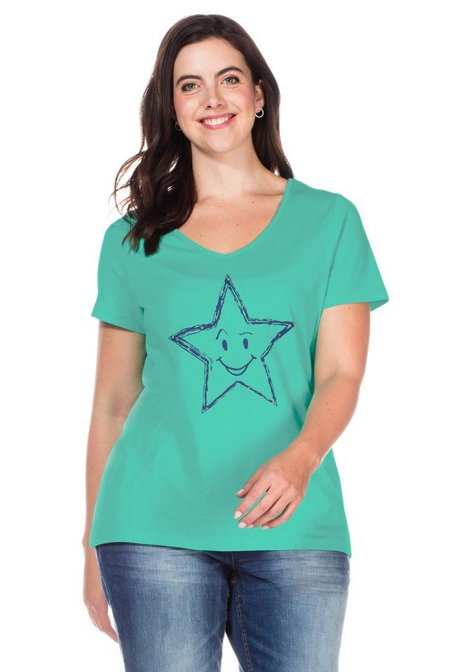 sheego Casual T-Shirt mit Stern-Druck in mint