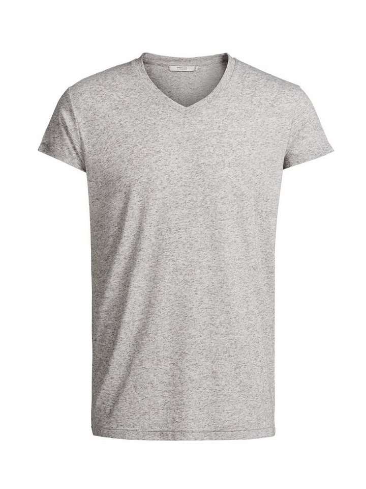 Jack & Jones Leinenmischfaser- T-Shirt in Light Grey Melange