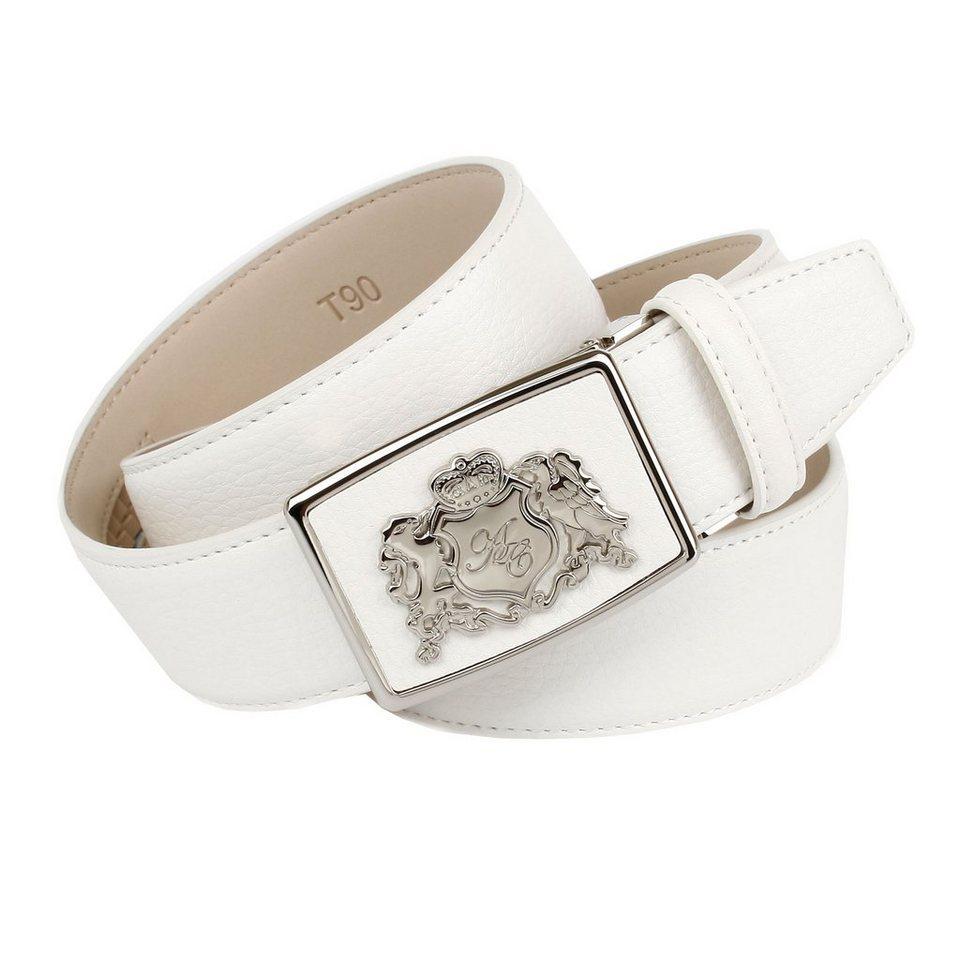 Anthoni Crown Ledergürtel mit Metalllogo in Weiß