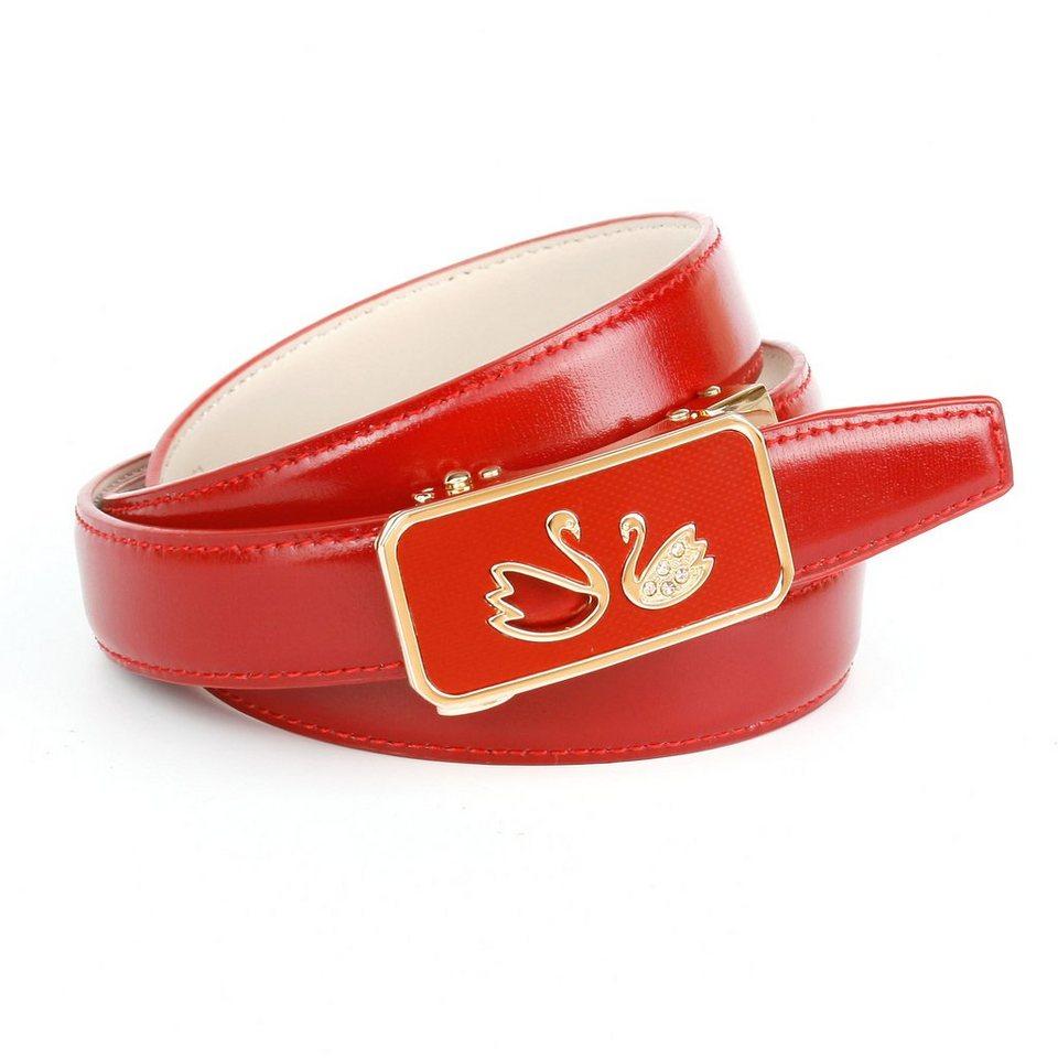 Anthoni Crown Ledergürtel für verliebte Herzen in Rot