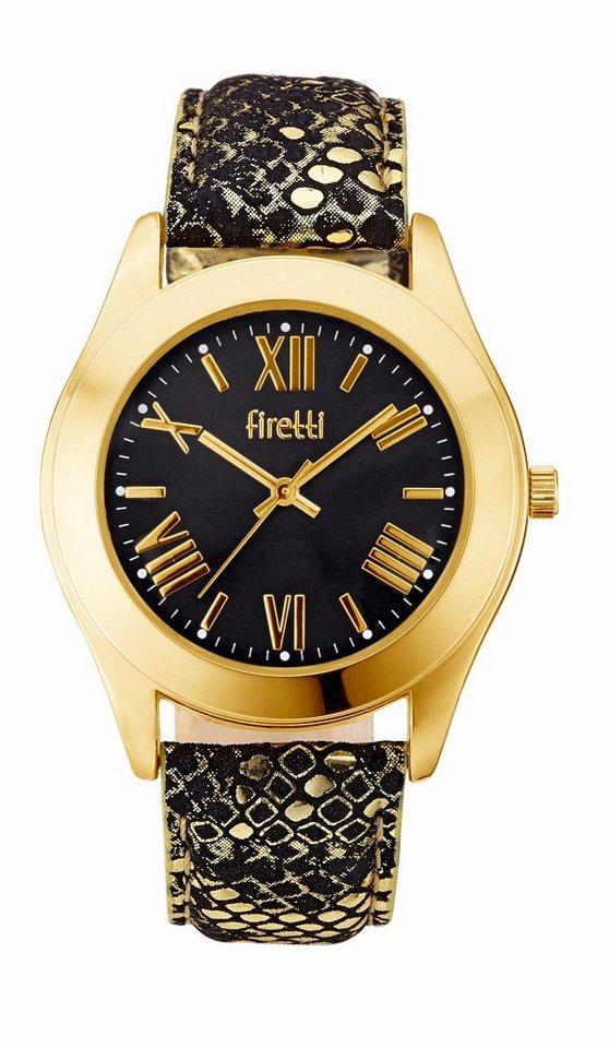 Firetti Quarzuhr in schwarz-goldfarben