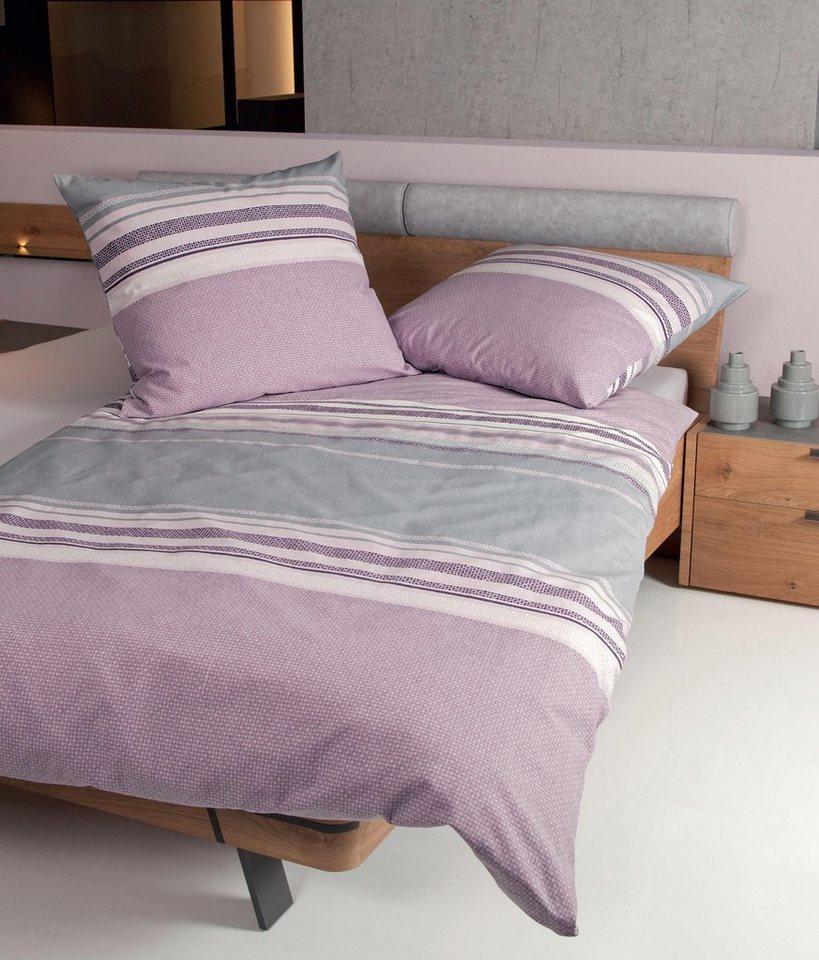 Bettwäsche, Janine, »Lift«, mit dezentem Muster in violett