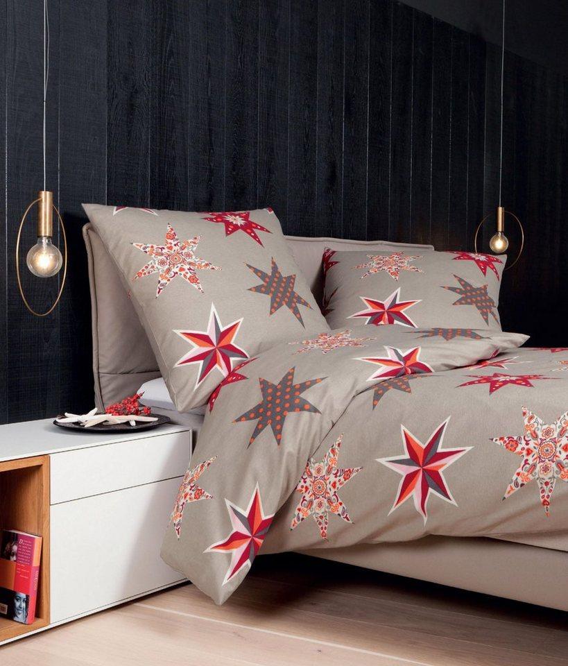 Bettwäsche, Janine, »Christmas Star«, mit großen Sternen in rot-taupe