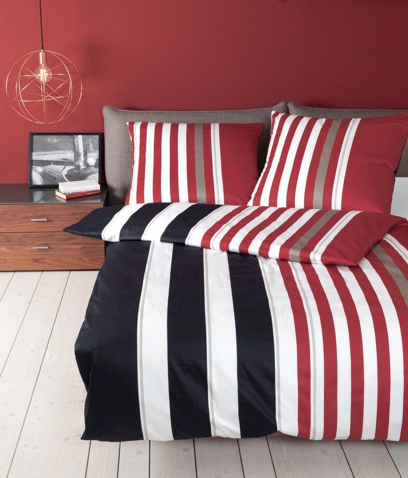 Bettwäsche, Janine, »Clay«, mit Streifen in rot-schwarz