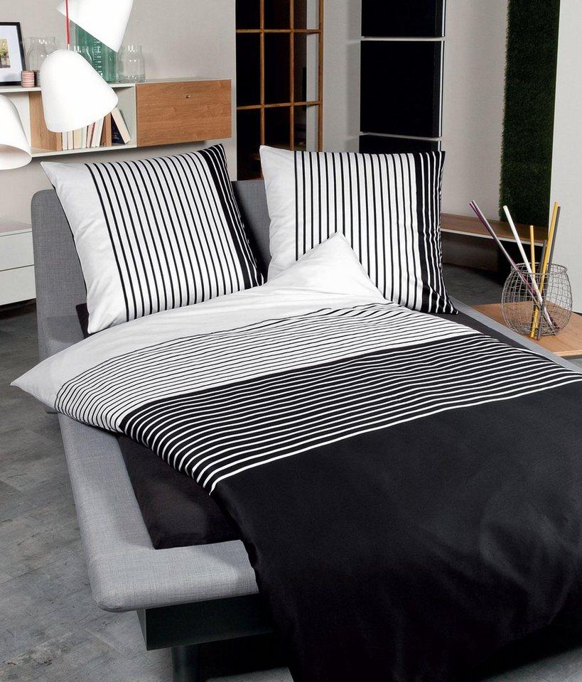 Bettwäsche, Janine, »Line«, mit feinen Streifen in schwarz-weiß