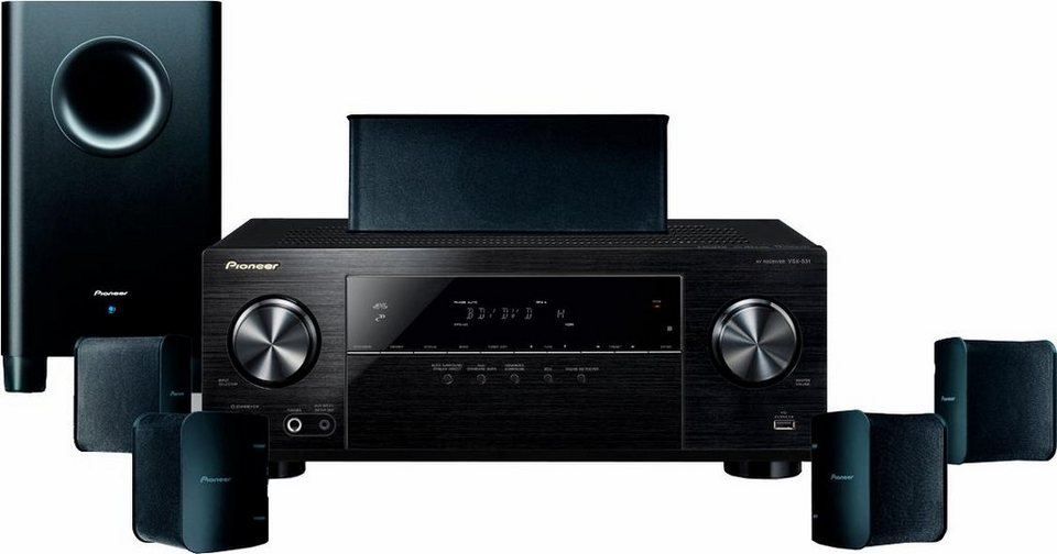 Pioneer HTP-206 5.1 Heimkinosystem (3D Blu-ray Player, Hi-Res, 650 W, Bluetooth) in schwarz
