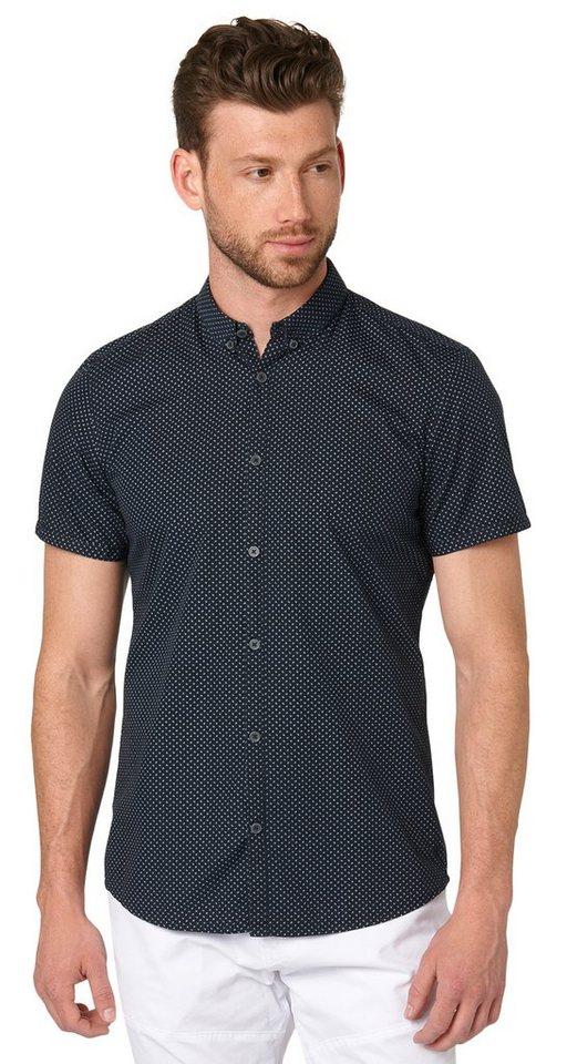 TOM TAILOR Hemd »Kurzarm-Hemd mit punkte Druck« in dark blue