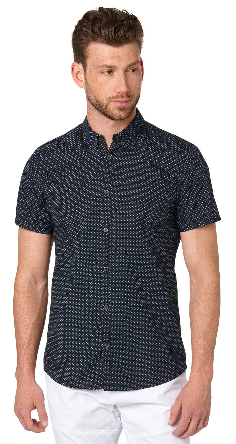 TOM TAILOR Hemd »Kurzarm-Hemd mit punkte Druck«