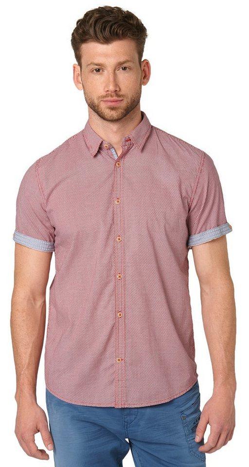 TOM TAILOR Hemd »Ray colourful print slub shirt« in sun bleached red