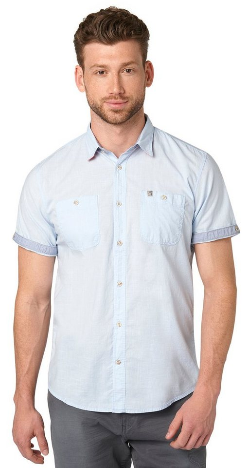TOM TAILOR Hemd »Ray structure deco solid shirt« in frosty light blue