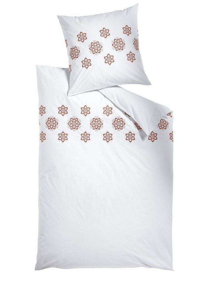 Bettwäsche in weiß/orange