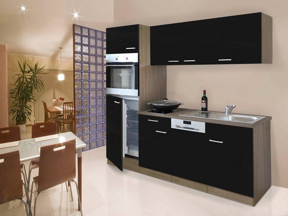 Küchenzeile mit E-Geräten »York«, Breite 205 in schwarz/eichefarben