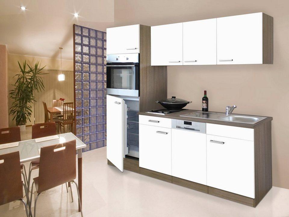Küchenzeile mit E-Geräten »York«, Breite 205 in weiß/eichefarben