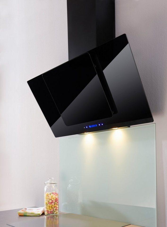 Glasschirm-Dunstabzugshaube in 60 und 90 cm in schwarzglas